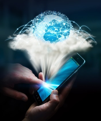 Cloud and digital world connected over businesswoman mobile phone